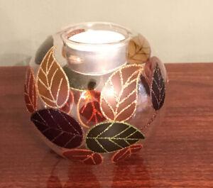 Pier 1 Amber, Green, Orange & Brown Leaf  Votive Candle Holder - Pier One Import