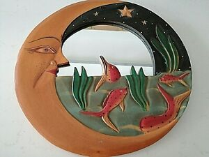 Mirror Dekorative in a Wooden Frame Carving Round Moon Fish Painted Handmade