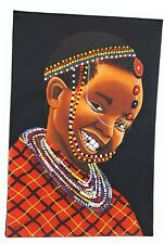 African American Kid Canvas Painting Wall Art Home Room Decor Original Signed
