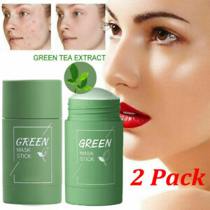 2x Green Tea Solid Mask Stick Purifying Clay Acne Blackhead Remover Cleaning Oil