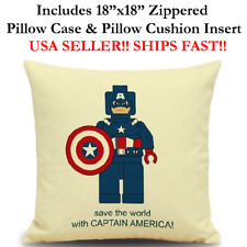 "18x18 18"" CAPTAIN AMERICA LEGO MAN Throw Zipperec Pillow Cushion Marvel DC COM"