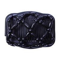 1X(Double Beaded Hair Magic Comb Clip Beads Elasticity Hairpin Stretchy Hai B3P2