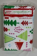 "Holiday Time Rectangle 60 x 102"" Christmas Trees Vinyl Tablecloth 100% PEVA"