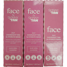 3 x SkinnyTan Face 2 in 1 Overnight Tan & Hydrate Mask 50ml Gradual Fake Lotion