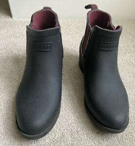 Hunter Wellies Ankle Boots Classic Black Rain boots UK Size 3