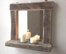 Driftwood  Wall mounted mirror with Shelf