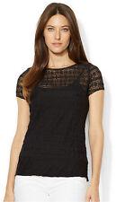 Black Lace Short Sleeve Blouse by Lauren Ralph Lauren MEDIUM