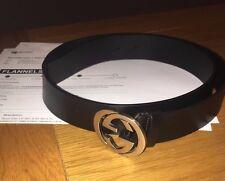 Gucci Leather Black Interlocking G Logo Belt Silver Size 95cm