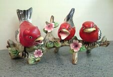 Vintage Ceramic UCAGCO TANAGER BIRDS ON A BRANCH Figurine, Japan