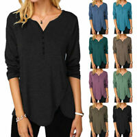 Womens Long Sleeve V Neck T Shirt Tunic Ladies Casual Baggy Button Blouse Tops