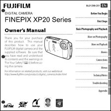FujiFilm FinePix XP20 Digital Camera Owner's  Manual User Guide Instruction