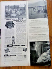 1956 Coleman Camping Ad Folding Camp Stove Floodlight Lantern Fred White Family