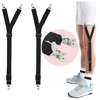 2PCS Mens Y-Style Shirt Stay Suspenders Adjustable Heavy Duty Sock Holder Clips