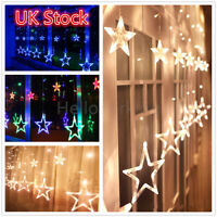 138 LED Star Curtain Window Fairy Lights Twinkle Christmas Display Party Wedding