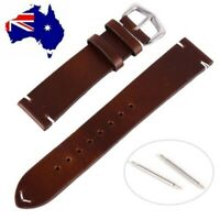 Stitched Tip Genuine Leather Italian Style Band Watch Strap Oiled Finish