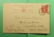DR WHO 1893 GIBRALTAR FANCY CANCEL 42 POSTAL CARD TO ENGLAND  f52833