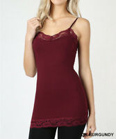 Lace Trim Camisole Basic Cami Tank Top Tunic Adjustable Straps Regular Plus Size