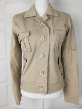 DC Jacket Sz S Beige Military Style Button-Down Long Sleeve Pockets Women's