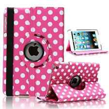 HOT PINK Fashion Dots Leather 360° Rotating Stand Case Cover For iPad 2/3/4 UK
