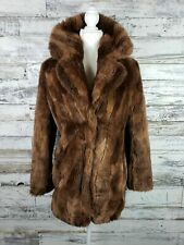 Abercrombie And Fitch Women Brown Luxe Faux Fur Coat Jacket Size XS