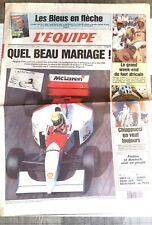 L'Equipe Journal 9-10/10/1993; Peugeot-McLaren l'union/ Chiappucci/ Auriol/ Piol