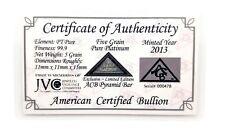 1/3 Gram .999 Fine Platinum Bullion Pyramid Bar - Limited Edition in COA Card