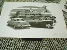 """1954, 1953 , 1956 Ford ,Thom SanSoucie Signed Print #2001 , 11"""" x 17"""""""