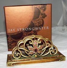 Jay Strongwater Purple Gold Swarovski Crystal Leaf Business Card Holder New Nib