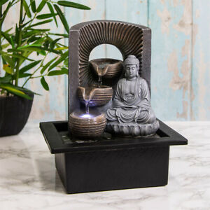 Indoor Water Fountain & LED Light Tranquility Buddha Zen Meditation Home Decor