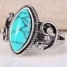 925 Silver December Birthstone Ring Oval Turquoise Women Men Wedding Size 6-10
