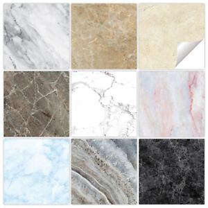 Marble Tile Stickers Transfers - 9 Colours - Bathroom Kitchen Custom Sizes - MM1