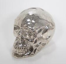 "Silver Mercury Glass Skull Skeleton Head LED Lighted Halloween Decor 7.5"" L"