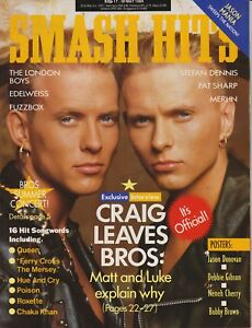 SMASH HITS MAGAZINE BROS/FUZZBOX/MERLIN MAY 1989