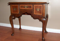 8008: Outstanding Antique Burled Walnut Lowboy Chest Table Queen Anne Child Size