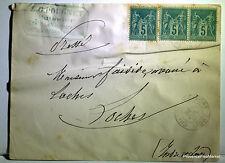 Sage  sur lettre oblitération  CHATILLON    LOCHES     - 1888  201ca127