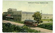 Stamford Conn CT - TROLLEY AT STOLWERCK'S FACTORY - Postcard