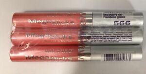 3 Wet N Wild Mega Slicks Lip Gloss 566 Strawberry Ice .15 oz Ea Satin Shine Pink