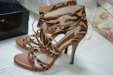 """""""NEW"""" Boutique 9 Beige Leopard Leather Caged Buckle 4"""" Heels Shoes Size 8"""