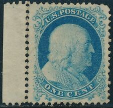 #40 1c XF UNUSED (BRIGHT BLUE) REPRINT 1875 LEFT MARGIN COPY HV6162