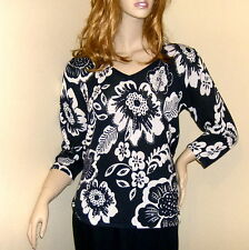 Ladies Black/White Floral Stretch Jersey Top Long Sleeves Sequins Size 12 EU 38