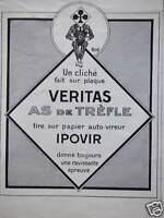 PUBLICITÉ VERITAS AS DE TRÈFLE UN CLICHÉ FAIT SUR PLAQUE IPOVIR