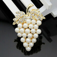 Buckle Gold Crystal Pins Scarf Clip Rhinestone Grapes Brooch Pearl Plated Gold
