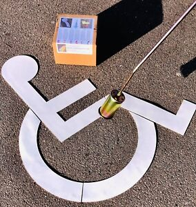 DISABLED WHEELCHAIR CAR PARKING SPACE TARMAC ROAD MARKING WHITE PERMANENT