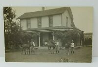 Real Photo Postcard 3 Boys w/ Horses In Front of a House RPPC