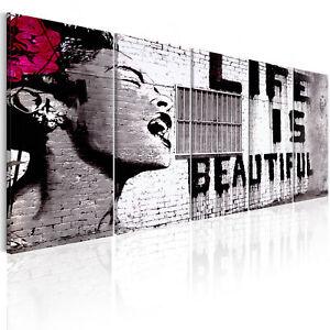 GAFFITI BANKSY MURAL LIFE FRAU Wandbilder xxl Bilder Vlies Leinwand i-C-0114-b-m