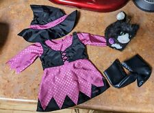 American Girl Doll Witch Costume Halloween Dress Hat Licorice Cat