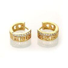 1 Paar Creolen Ohrringe je 9 Zirkonia 18K Gold vergoldet Damen Ohrstecker Strass
