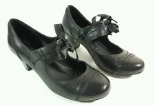 Clarks womens black leather mid heel shoes uk 3 Eu 36