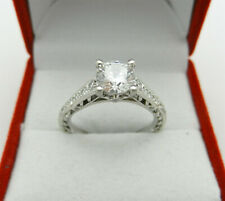 Engagement 14k White Gold Solitaire Clear Stone Ring with Diamond Accent