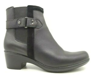 Clarks Black Leather Zip Up Block Heel Ankle Boots Shoes Women's 8.5 M